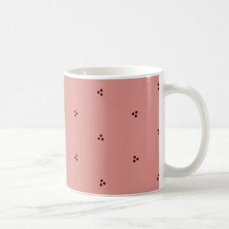 Burgundy-on-Pink Triple Dot Patterned Mug