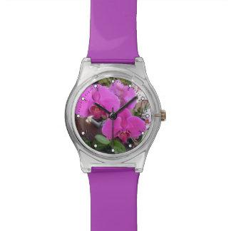 Burgundy Orchids Wrist Watch
