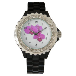 Burgundy Orchids Wrist Watches