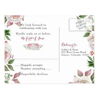 Burgundy Pink Chic Rose Floral Wedding RSVP Postcard