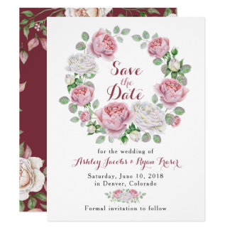 Burgundy Pink Rose Floral Wedding Save the Date Card