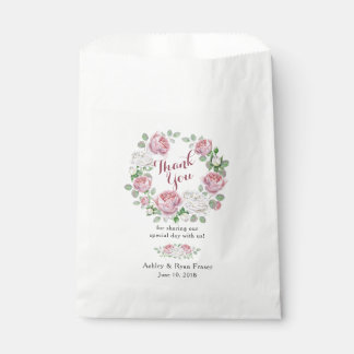 Burgundy Pink Rose Floral Wedding Thank You Favour Bags