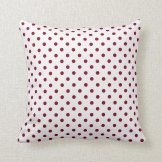 Burgundy Polka Dots Throw Pillows