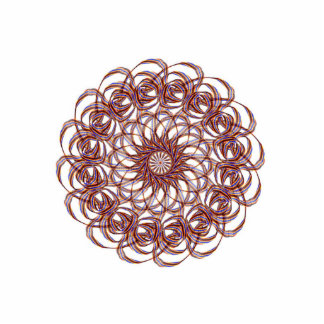 Burgundy (red and blue) rosette #1 design photo sculpture key ring