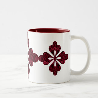 Burgundy Red Jacquard Cutout Design Two-Tone Coffee Mug