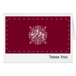 Burgundy Red Vintage Monogram Business Card