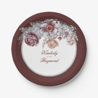 Burgundy Red Watercolor Flowers Vintage Paper Plate
