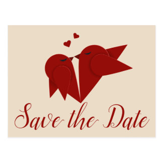 Burgundy Save The Date Lovebird Wedding Engagement Postcard