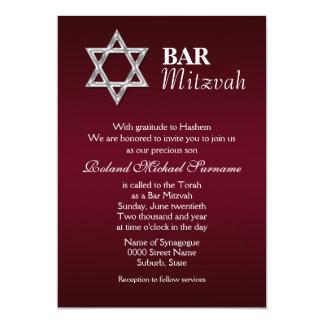 Burgundy silver bar mitzvah celebrations #2 card