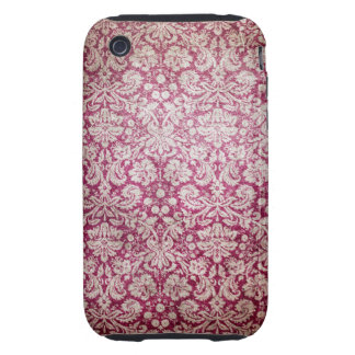 Burgundy Vintage Damask Tough iPhone 3 Covers