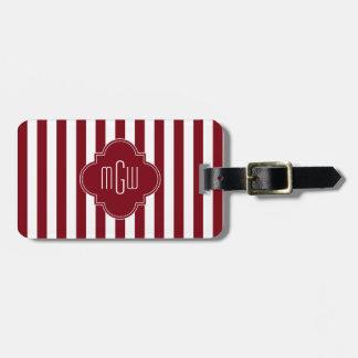 Burgundy Wht Stripe Burgundy Quatrefoil 3 Monogram Luggage Tag