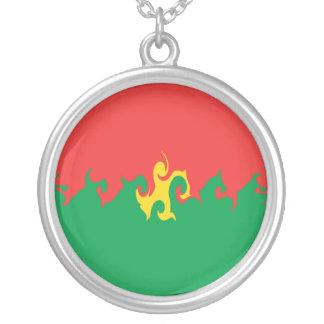 Burkina Faso Gnarly Flag Round Pendant Necklace