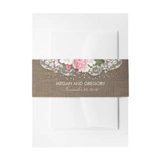 Burlap and Floral Lace Gold Rustic Confetti Dots Invitation Belly Band