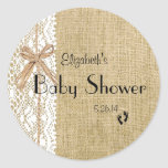 Burlap and Lace Image Baby Shower-Favour Round Stickers