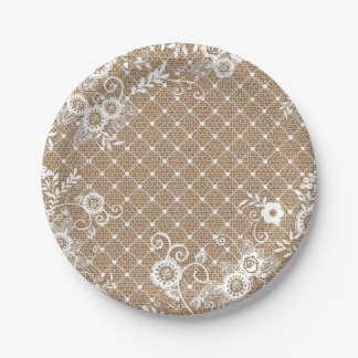 Burlap and Lace Shabby Chic Paper Plates