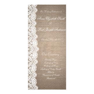 Burlap and Lace Wedding Program Custom Rack Card