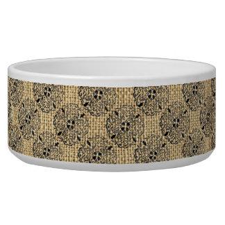 Burlap and Mandalas Round Motif Design Brown Black Dog Bowls