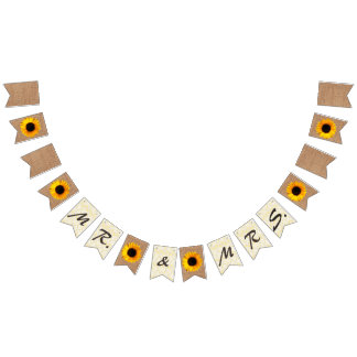 Burlap and Sunflowers Wedding Bunting Bunting