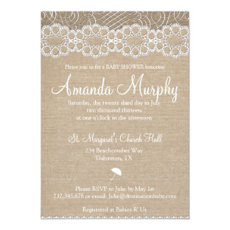 Burlap and Vintage Lace Baby Shower Invitation