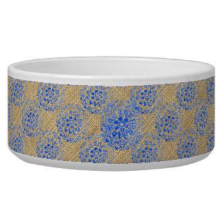 Burlap + Blue Flower Mandalas Round Motif Design 3