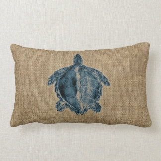 Burlap Creatures Illustration Blue Turtle Design Lumbar Cushion