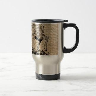 burlap deer doe rustic travel mug