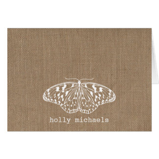 Burlap Inspired Butterfly Personalized Notecards Greeting Card