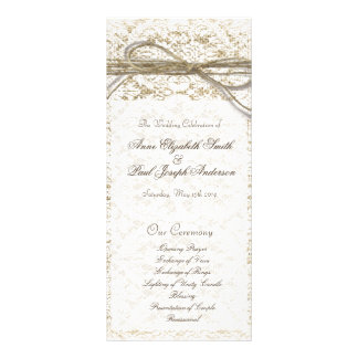 Burlap lace and twine bow Wedding Program Full Color Rack Card