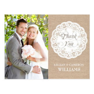Burlap Lace Doily Wedding Thank You Postcard