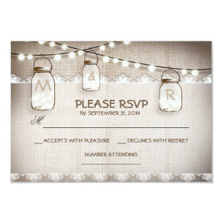 burlap lace lights & mason jar wedding RSVP card