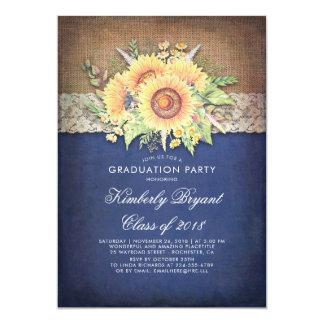Burlap Lace Sunflower Navy Rustic Graduation Party Card
