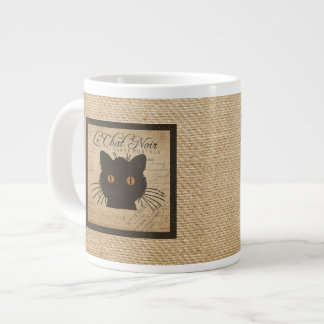 Burlap Le Chat Noir French The Black Cat Large Coffee Mug