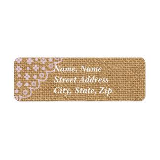 Burlap Lined Envelope Mailing Label Return Address Label
