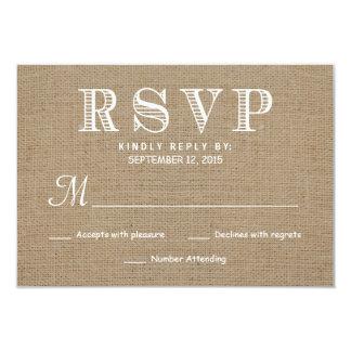 Burlap RSVP Rustic Typography Wedding Reply 9 Cm X 13 Cm Invitation Card