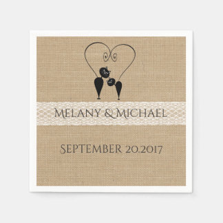 Burlap rustic funny cats in love wedding disposable serviettes