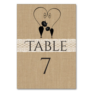 Burlap rustic funny cats in love wedding table cards