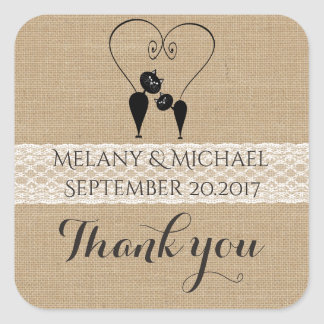 Burlap rustic funny cats in love wedding thank you square sticker