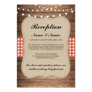 Burlap Rustic Wedding Reception Cards Wood Red