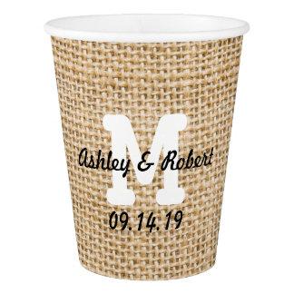 Burlap Rustic Wedding Reception Custom Monogram