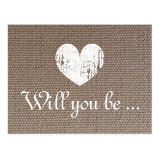 Burlap texture cards | Will you be my bridesmaid Postcard