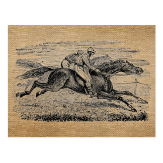Burlap Vintage Horse Racing Postcard