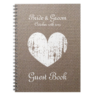 Burlap wedding guest book with rustic heart design spiral notebooks