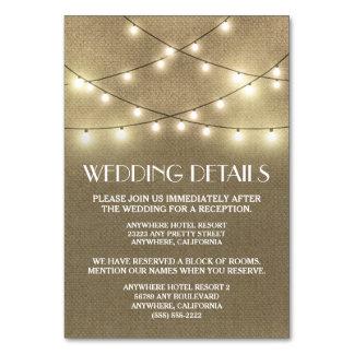 Burlap Wedding Reception Accommodation Cards Table Card