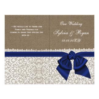 burlap white lace,navy blue folded Wedding program 21.5 Cm X 28 Cm Flyer