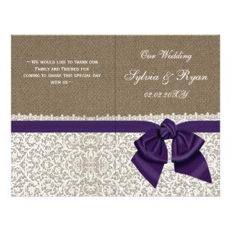 burlap white lace,purple folded Wedding program 21.5 Cm X 28 Cm Flyer