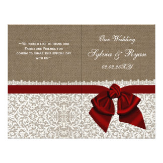 burlap white lace,red folded Wedding program 21.5 Cm X 28 Cm Flyer