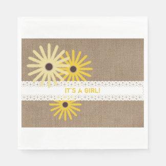 Burlap + Wildflowers Lace Girl Baby Shower Napkins Paper Napkin