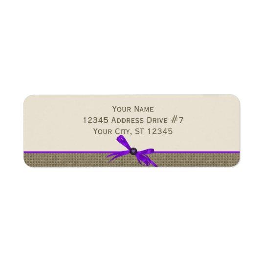 Burlap with Bow in Purple Return Address Label