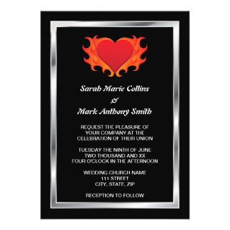 Burning heart with chrome border biker wedding personalized announcements