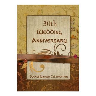 Burnished Autumn Gold 30th Wedding Anniversary Card